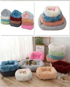 Pet Dog Cat Bed Nest Plush Square Pet Nest Kennel Comfy Warm Fluffy Bed Kennel