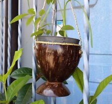 DIY coconut shell natural handcraft hanging planter pot outdoor garden for small