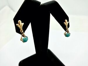 SMALL PAIR 14K GOLD TURQUOISE 5MM CABOCHON DANGLE EARRINGS