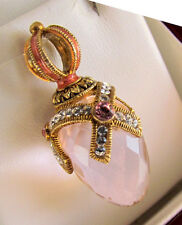 SALE !  STUNNING PINK TOPAZ STERLING SILVER 925 AND 24K GOLD RUSSIAN EGG PENDANT