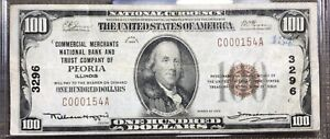 FR. Peoria Peoria IL $100 1929 T-1 National Bank Note Ch #3296 Commercial Mercha