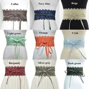 Ladies Wide Band Embroidery Lace Belt Corset Wasitband Cinch Dress Accessory