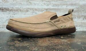 Mens CROCS Santa Cruz Loafers Shoes Sz 13 M Used Khaki Brown Canvas