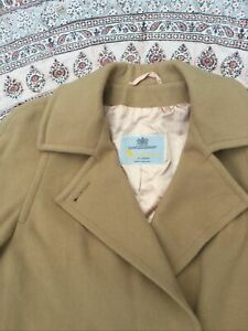 AQUASCUTUM - Fawn - Wool - Double Breasted - Button Up - Overcoat - M