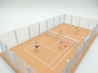 Model Tennis Court - Tennis Players and Court - OO HO 00 Railway Scenery -NEW CC