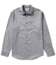 $99 CALVIN KLEIN Men's FIT GRAY COTTON LONG-SLEEVE BUTTON DRESS SHIRT SIZE XXL