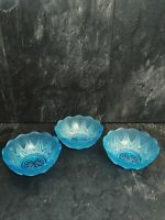 """Vintage Pressed Glass Blue Opague Frosted Art Glass Bowls 5"""""""