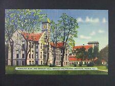 Peoria Illinois IL Horology Bradley Polytechnic Institute Linen Postcard 1930-45