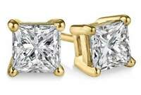 2 ct. White Sapphire Princess Stud Earrings in 14k Yellow Gold over S. Silver