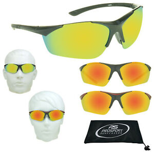 Polarized Mirrored Sunglasses Golf Sport Wrap Half Frame Blade Rubber Nose Piece