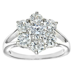 Sterling Silver Ladies Sparkling Cluster Ring - ALL SIZES AVAILABLE