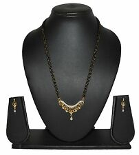 Designer Black Beads Chain Two Tone Mangalsutra Set Indian Jewelry 522