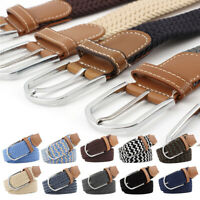 Men Women Casual Pin Buckle Belt Woven Canvas Braided Elastic Stretch Waist Belt