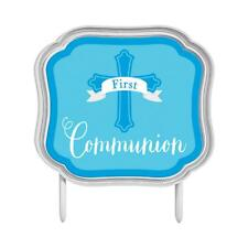 First Communion Blue Cake Topper Religious Party Decoration - 140199