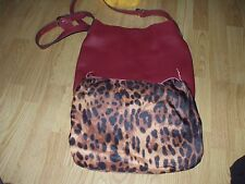 Co Lab red burgundy leather shoulder bag hand bag with removable leopard insert