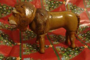 "Antique Schoenhut Lion full size, Humpty Dumpty Circus 8"" American Wood Folk Art"