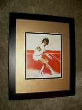 Impressive Framed Tennis Image of Yannick Noah at the 1983 Franch Open by Leroy