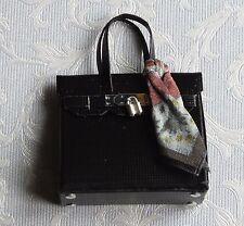 Dolls house miniatures: elegant black handbag with silk scarf