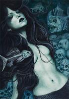 Gothic MERMAID Fantasy Art PRINT Skulls Fish Skeletons Dark Death Teal Green