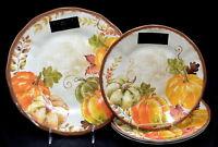 Tahari Melamine Autumn Harvest 1 DINNER & 3 SALAD PLATES Pumpkins Thanksgiving