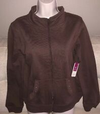 BOBBIE BROOKS Womans Size S (6) Brown Jewel Studded Lightweight Zip Front Jacket