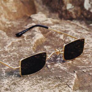 Retro Small Sunglasses Rectangle Punk Unisex Metal Frame Anti-Blue Light Optical