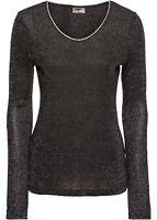 Damen Shirt Top Bluse Oberteil Langarm Rundhals Schwarz / Silber G 36 / 38 NEU