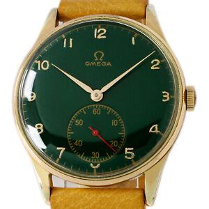 Omega 1959s Winding Ref 2181 Hulk Green Jumbo 37mm Rare Size Sub Second Watch