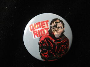 Quiet Riot-Mental Health-Silver-Red-Small-Pin Badge-80's Vintage-Rare