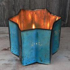 großes Windlicht 20cm Glas blau Stern Advent Teelichthalter Kerzenhalter Deko