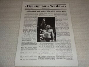 Fighting Sports Newsletter Issue #6 July 1996 Marco Ruas UFC MMA Coverage Rare
