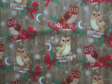 OWLS MOON SNOWFLAKES BOWS HOLLY FLANNEL FABRIC FQ