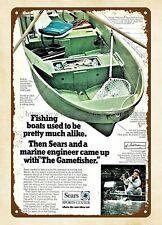 1970 SEARS Gamefisher Small Fishing Boat metal tin sign metal wall art
