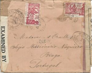 1942 - French Oceania - Missionary cover Multi-censored - Tahiti to Portugal