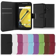 Wallet Leather Flip Case Card Cover For Motorola Moto E 2nd Genuine AuSeller