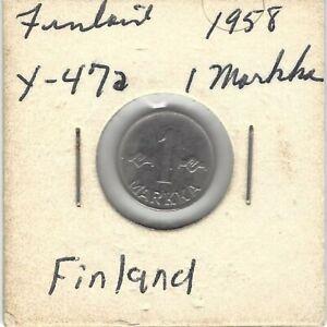 1958 Finland 1 Markka Coin