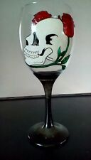 Gothic Skull And Roses Black Stem Hand Painted Large Wine Glass Uk
