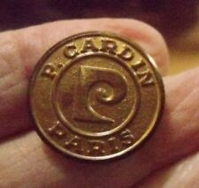 "GOLD TONE Metal P.CARDIN PARIS BUTTON 3/4"" VERY GOOD USED CONDITION-"