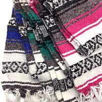 Genuine Falsa Mexican Blanket Hand Woven Serape Throw Yoga Mat Made in Mexico