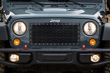 Custom Aftermarket Steel Grille BRICKS w/ SS Rivets for 2007-2016 Jeep Wrangler