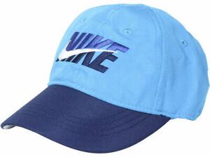 Nike Split Swoosh Baseball Cap Laser Blue Little Boy's Strapback Hat Sz: 4/7