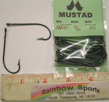 Mustad 33637 #5/0 Blue Barbed Worm Hook - straight eye 20pk. Bait