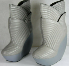 UNITED NUDE 'TULIP' SKYHIGH WEDGE QUILTED LEATHER GRAY ANKLE BOOTS EU 40 US 10