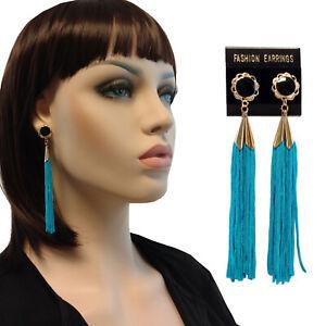 """Long Turquoise Blue Tassel Pierced Earrings  3 3/4"""""""