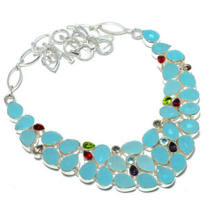 """Chalcedony & Multi 925 Sterling Silver Jewelry Handmade Necklace 17.99"""" AMN-299"""