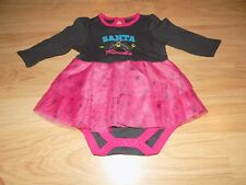 Infant Size 3 Months Cherokee Pink Gray SANTA ROCKS Christmas Holiday Dress EUC