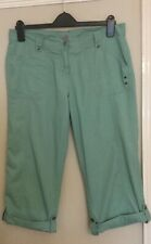 TU Cropped Green Cotton Trousers With Turn Ups Size 12
