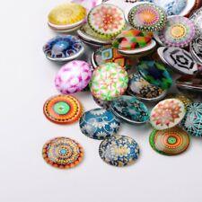 LOT de 10 CABOCHONS en VERRE thème MOTIFS multicolores ronds 14mm perles bijoux