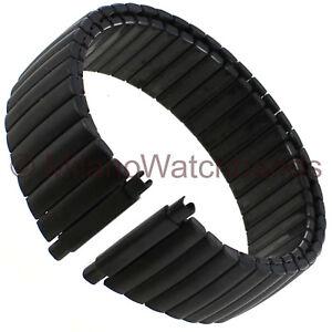 16-22mm Hadley Roma PVD Matte Black Twist-O-Flex Stainless Mens Watch Band 7288