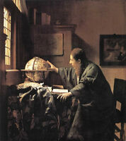 Beautiful Oil painting Johannes Vermeer - Young Man portrait The Astronomer 36""